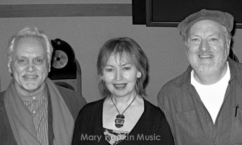 Mary Hopkin with Benny Gallagher and Graham Lyle at Abbey Road